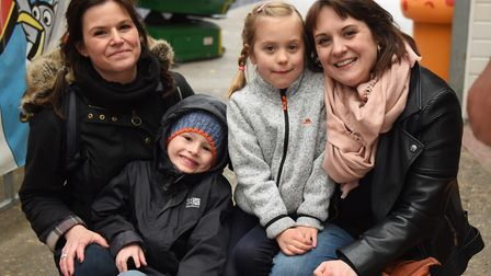 From left, Dulcie Humphrey and her son Francis, six; with Sophie Barrett, and her daughter Ava, seve