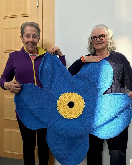 Glo and Honey-Bee from the Norfolk Knitters and Stitchers with the giant forget-me-not resized. Phot