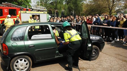Students were given a graphic road safety message, when the emergency services' hard hitting #impact