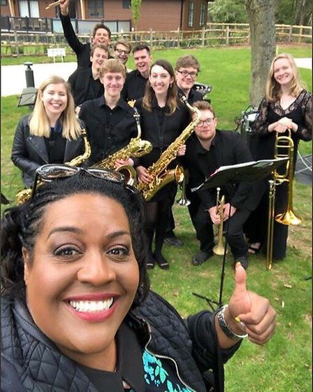 ITV's This Morning presenter Alison Hammond with the UEA Jazz Collective, which appeared on the show