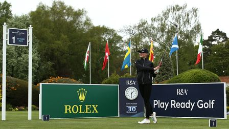 Eve Neild of Royal Norwich tees off the first during the final round of the R&A Girls U16 Amateur Ch