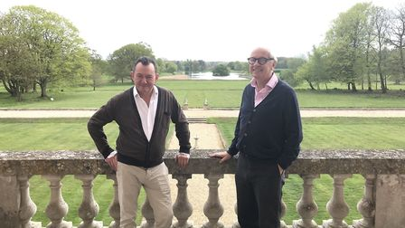 Owners of Wolterton Hall, Keith Day (left) and Peter Sheppard (right) on the balcony. Picture: Ella