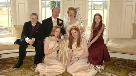 Katie Lawson (front left) with her family - dad Kevin Goodall, stepmum Lesley Goodall and siblings S