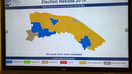 The live election map showing the full results from the North Norfolk District Council 2019 election
