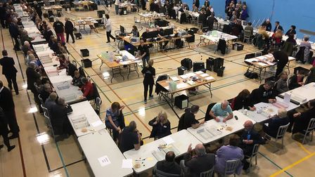 Morning all from the @SNorfolkCouncil local election count at Long Stratton Leisure Centre. Vote ver