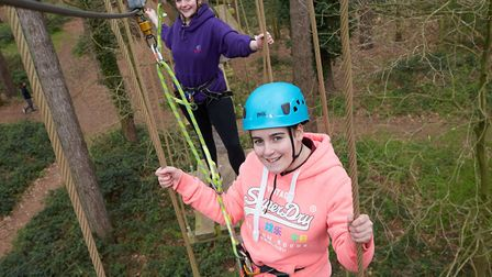 Sarah Hassan (front) and Amy Prestidge enjoying the activities put on for young carers during the Re