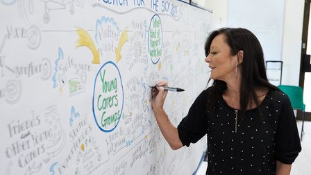 Juli Dosad, a graphic facilitation artist who created an image mapping out how the young carers felt