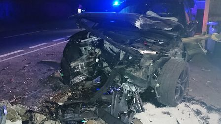 Police arrested a suspected drink-driver after a crash on the A143. Picture: Great Yarmouth Police
