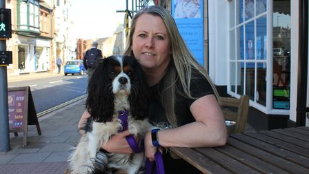 Debbie Frost with her beloved Cavalier King Charles spaniel Maddie, who was rushed to the vet after