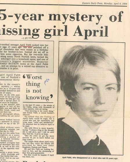 An Eastern Daily Press report marking the 25th anniversary of April Fabb's disappearance, from 1994.