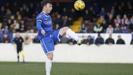 Adam Smith made his 400th appearance for Lowestoft Town against Rushall Olympic. Picture: Shirley D