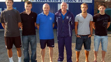 Back then, in July 2009, Lowestoft's four new recruits lined up with the Blues management team. L-R: