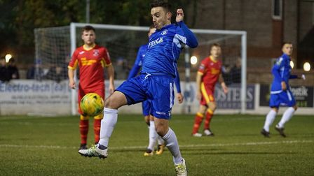 Lowestoft's Adam Smith in action against Needham Market. Picture: Shirley D Whitlow