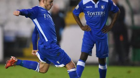 Adam Smith of Lowestoft Town takes a free kick during the National League North match at Horsfall St