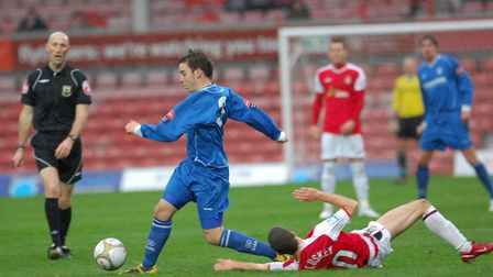 Action from The FA Cup 1st round match between Wrexham and Lowestoft Town in 2009. Adam Smith. Photo