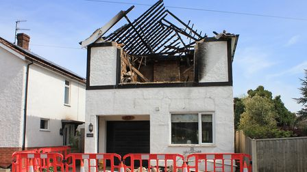 The burnt out top floor of the West Runton house hit by fire at the weekend.Picture: KAREN BETHELL