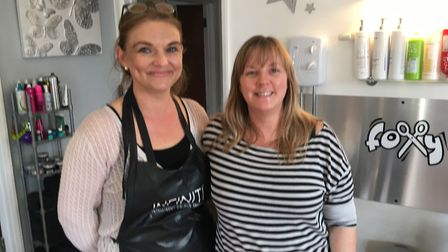 Karen Betts (left) and Laura Bennett-Beck (right), who work at Foxy Hair and Beauty in Little Plumst