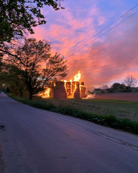 250 tonnes of straw which caught fire at The Street in Burgh-next-Aylsham. Photo: Jake Greatbatch