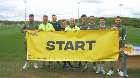 Some of Norwich City's first team squad joined club chaplains Jon Norman and Lewis Blois for a run a