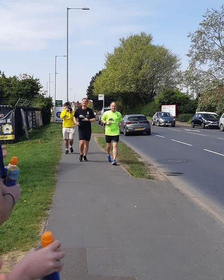 Four down, three to go. Norwich City FC chaplains Jon Norman and Lewis Blois are running seven marat