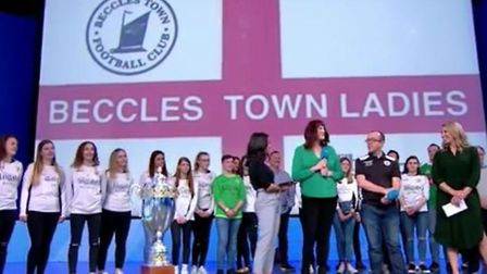 The Beccles Ladies Football club, on the Robbie Savage show. Picture: Contributed by Michelle Payne
