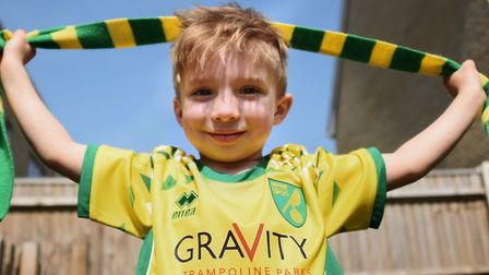 Four-year-old Norwich City super fan Oscar Drewery at his home in Gorleston. Picture: DENISE BRADLEY
