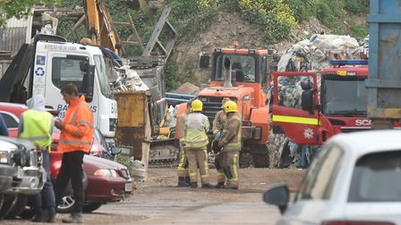 Emergency services at Baldwins Skip Hire in Besthorpe after the accident Picture: Sonya Duncan