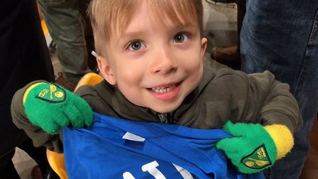Oscar Drewery, four, was given Teemu Pukki's warm-up shirt after he took a 'I love Pukki' sign to No