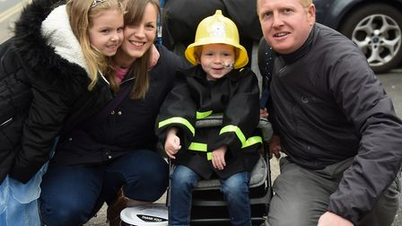 Harry Deeba, two, who has a rare form of cancer, at the superhero walk around the city to raise mone