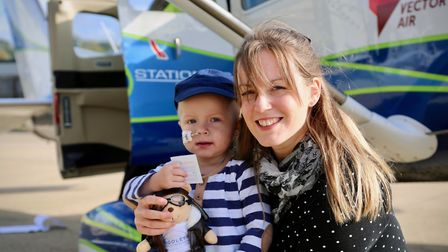 Harry Deeba with mum Carly on a special day out to Duxford Airfield organised by Please Take Me Ther
