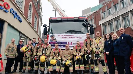 Firefighters from north Earlham undertook a 24 hour ladder climb for Harry Deeba. Picture: Norfolk F