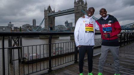 Kenya's Eliud Kipchoge and Sir Mo Farah will do battle at the London Marathon on Sunday. Picture: PA