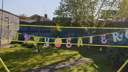 """Janet Fowler, of Dereham, said the family chuckled when they put the bunting up and it read """"Happy E"""