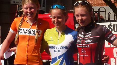 The Under 14 girls podium at the Fakenham Town Centre Races Picture, from left: Skye Willis (second