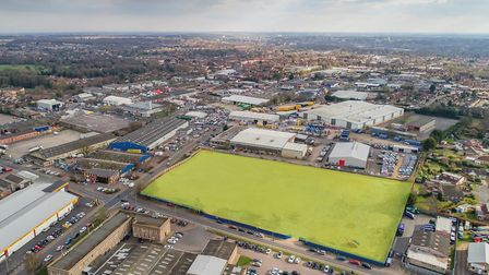An aerial shot showing where (boxed in green) the 17 new units will be built in Norwich. Picture: Ch