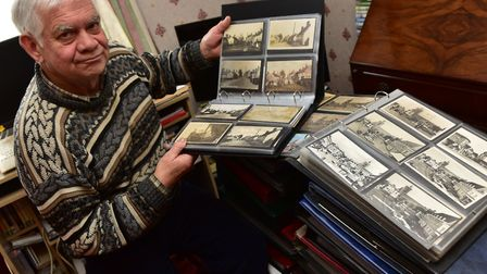 Local historian Dennis Cross from Diss who is selling his volumes of Francis Blomefield's history of