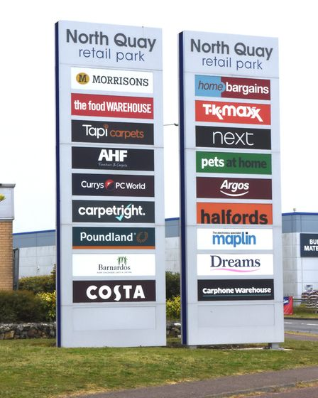 Businesses on the North Quay Retail Park in Lowestoft. Pictures: Mick Howes