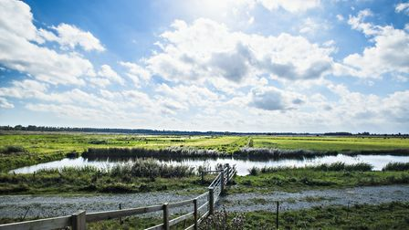 A view towards the new land on the Carlton Marshes near Lowestoft Picture: JOHN FERGUSON