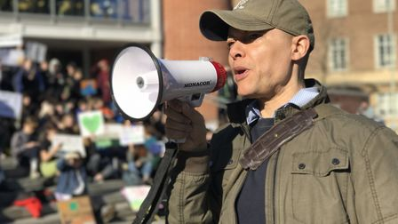 Clive Lewis MP during the Youth Strike 4 Climate demonstration outside The Forum in Norwich. Photo: