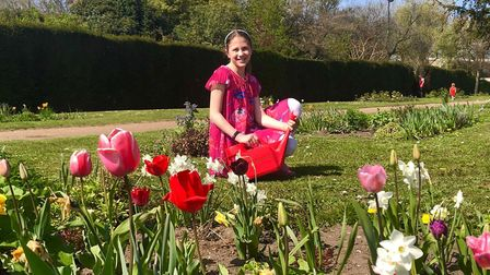 Lilly Beaman, 10, created and designed the sensory garden at Waterloo Park, Norwich. Picture: Tsveta
