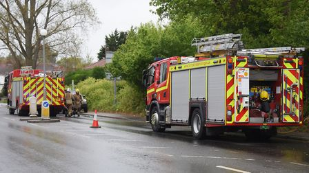 Fire engines at Barrett Road where there was a fire at the rear of some of the houses. Picture: DENI