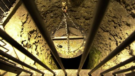 Money from the Castle Museum well is hoisted up three or four times a year. Picture: Sonya Brown
