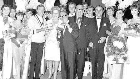 Gifts for stars Arthur Askey and Val Doonican on the final night of Wellington Pier's summer season