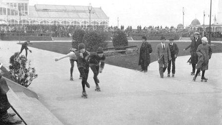Rollerskating outside Great Yarmouth's Wellington Pier Picture: ARCHANT