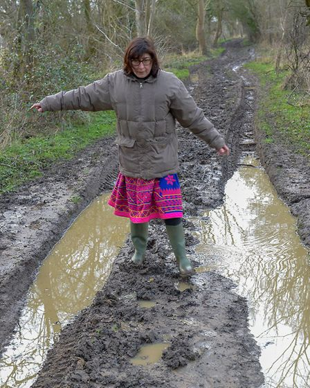 Back Lane near Shimpling pictured in 2013 after offroaders left it difficult for local residents and