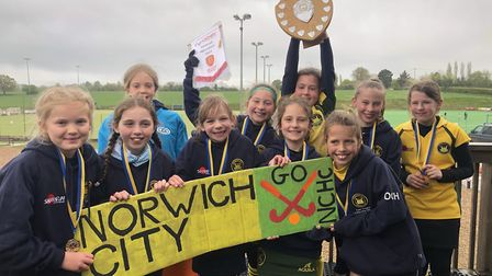 Norwich City's Under-10 girls team celebrate their success in the regional championships Picture: AN