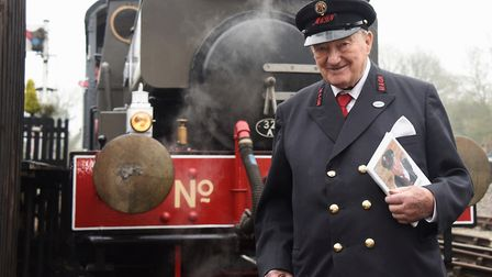Alan Baker, 89, at the Whitwell and Reepham Station with his book 'A Life on the Rails'. Picture: DE