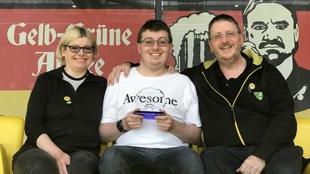 NCFC Fan of the Year, Jacob Bowles (middle), at Carrow Road with mother Sharon and father Andy. Pict