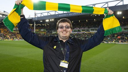 Jacob Bowles Norwich City fan of the Year before the Sky Bet Championship match at Carrow Road, Norw