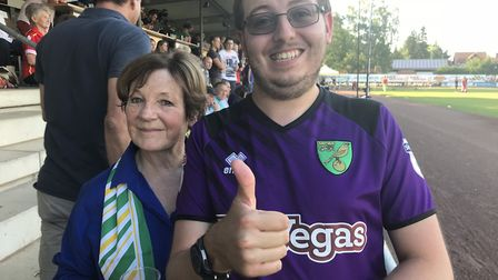 Jacob Bowles (right) with Delia Smith. PIC: Supplied by Bowles family.